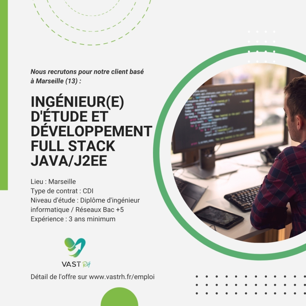 Ingénieur(e) d'étude et développement Full Stack Java/J2EE (H/F)
